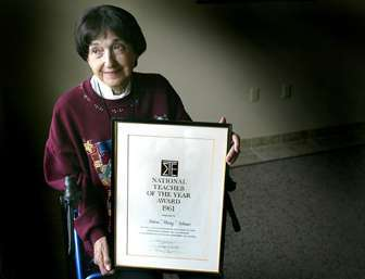 Helen 'Missy' Adams with her award. Photo taken later in her life.