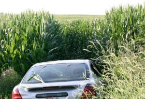 Westby woman takes unplanned ride into cornfield