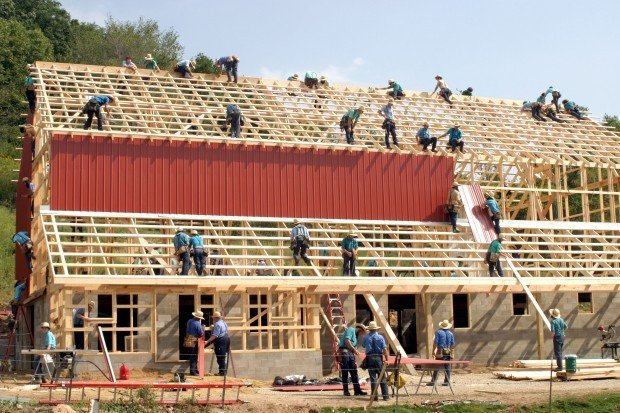 Amish Community Comes Together For Barn Raising Near