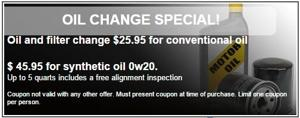 Oil and filter change $25.95 for conventional oil
