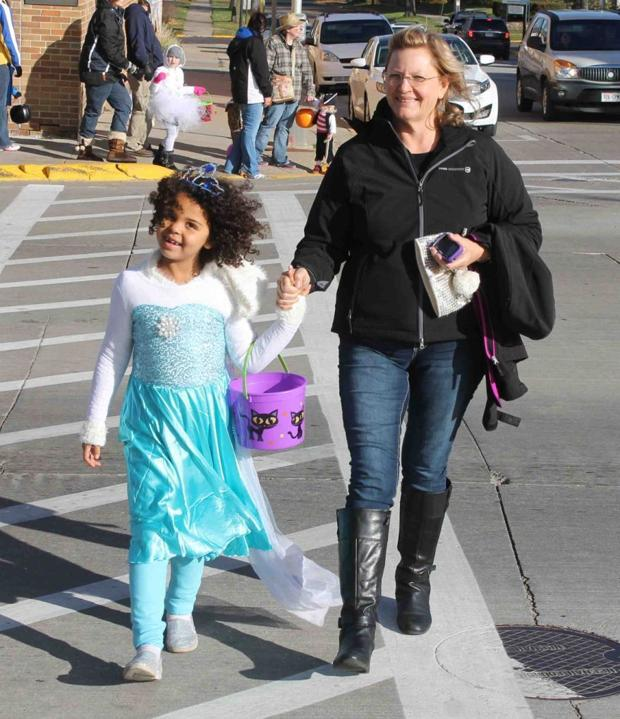 Downtown trick-or-treat in Viroqua
