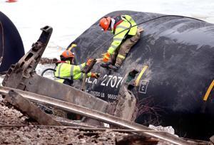 Photo gallery: The 15-car train derailment near Brownsville, Minn.