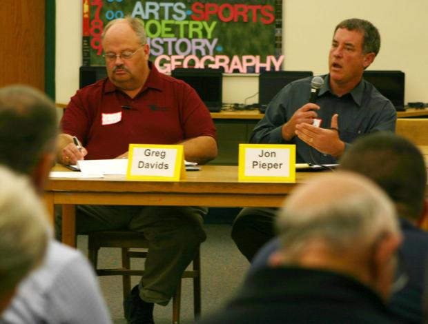 Davids, Pieper talk issues at forum