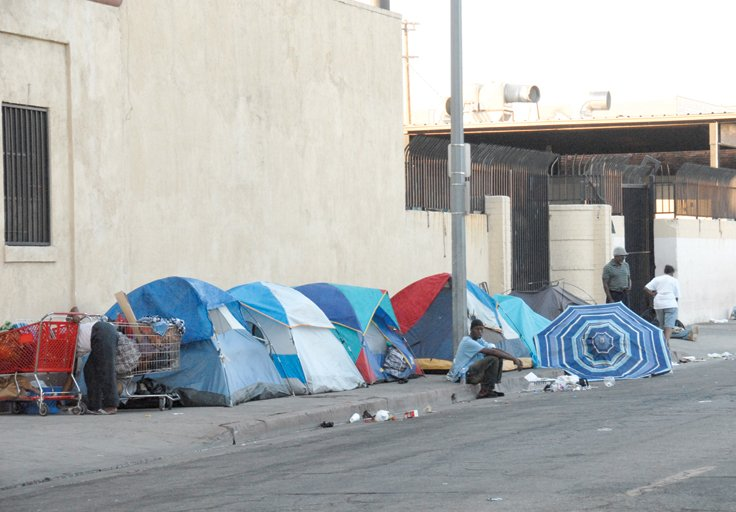 A picture of skid row homelessness news for Homeless shelters los angeles