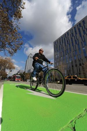 Spring Street Bike Lane Wiped Clean of Green