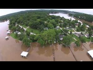 Flooding At Lake Of The Ozarks -- Aerial Footage