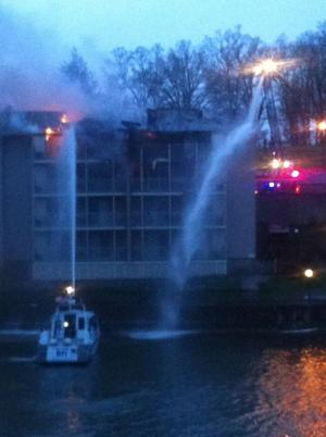 Water cannon putting out the fire