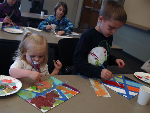 Kids create Crafternoon canvas concoction