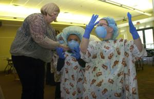 Kindergartners play doctor for a day