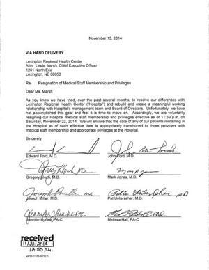 Resign privileges at lexington regional health center hospital