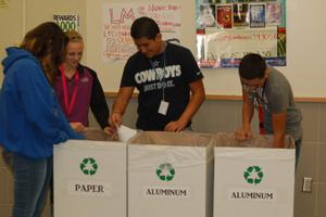 students recycle