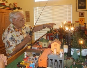 Jack Hornors living room is one big train set