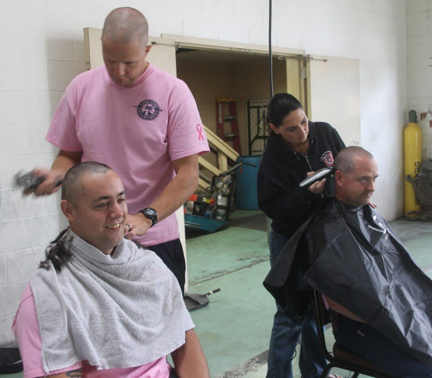 Lodi firefighters shave head to support breast cancer research
