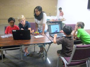 Founder of Intellibricks teaches students about Lego robotics