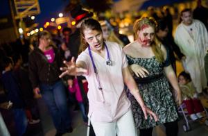 Walking dead make way through Downtown Lodi, after getting a dance in
