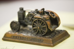 "Lodians Flock To 'Pawn Shop Insiders' : A tractor figurine, owned by Kathy Doffin of Acampo, was one of dozens of items appraised during a ""Good Day Sacramento"" broadcast from the Lodi News-Sentinel on Tuesday, Nov. 20, 2012.  - Photo by Dan Evans/News-Sentinel"