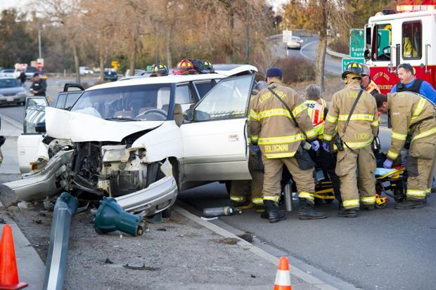 Two injured, one arrested on DUI suspicion in solo vehicle accident