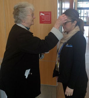 Observing Ash Wednesday at Lodi Memorial Hospital