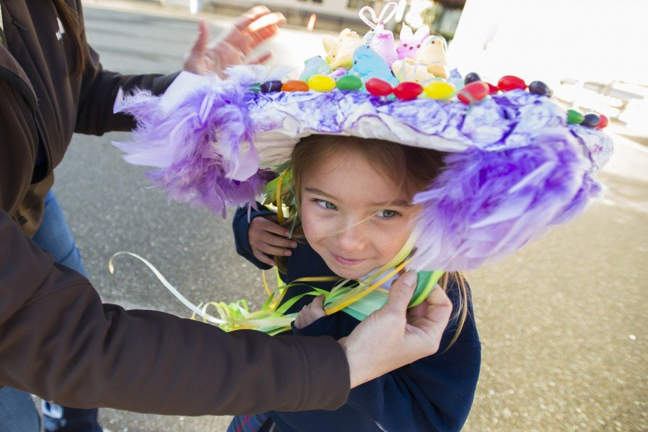 Molly Thurlow, 5, marches in St. Anne's School parade founded by her grandmother