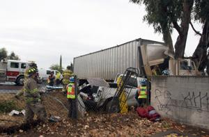 Truck driver badly hurt in Highway 99 collision