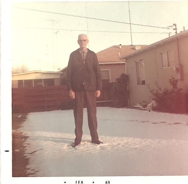 Albert Renke in the snow - Louie Ave. - 1969