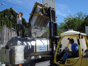 Loading Cinsault into Jessie's Grove's press