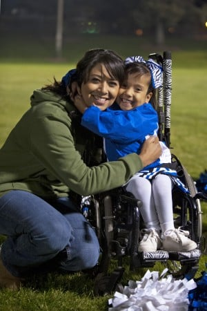 Not Even A Wheelchair Can Hold Back Lodi Youth Cheerleader: Heidi Gauna poses with her daughter, Katelyn, 5, during a Lodi Colts practice at Salas Park in Lodi on Wednesday, Nov. 14, 2012.  - Photo by Ian Jonsson/News-Sentinel