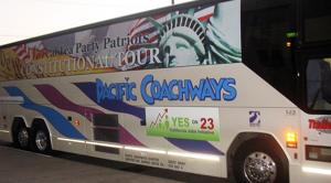 Tea Party bus tour stops in Lodi
