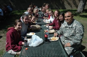 Soldier Frank Chavez visits his pen pals at Vineyard Christian Middle School