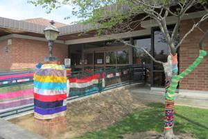 Crafty volunteers 'yarnbomb' Lodi Library