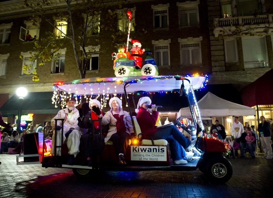 Parade of Lights – 89 floats strong – winds its way through Downtown Lodi with sports theme