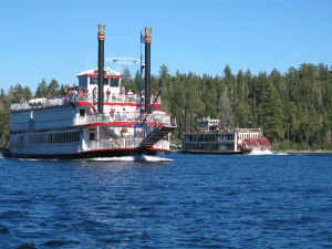 Take in the mountain scenery on the lake while aboard the Tahoe Sternwheeler Race