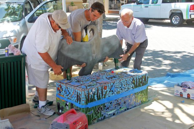 Great blue heron bench for Mokelumne River education completed