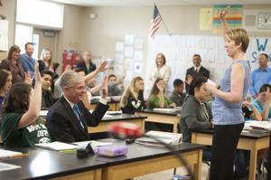 California Superintendent of Public Instruction Tom Torlakson visits McCaffrey Middle School in Galt