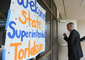 California Superintendent of Public Instruction Tom Torlakson visits McCaffrey Middle School in Galt