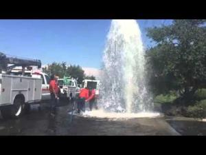 Fire hydrant hit on Kettleman Lane