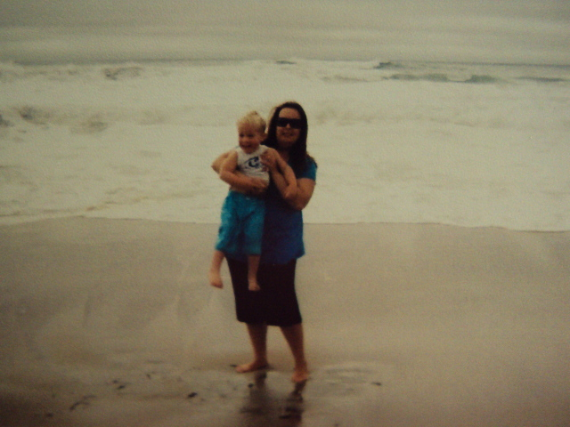 me and my son at half moon bay beach
