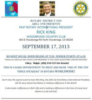 Past Rotary International President Rick Kings speaks in Woodbridge on September 17th