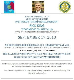 Past Rotary International President Rick Kings speaks in Woodbridge on September 17th
