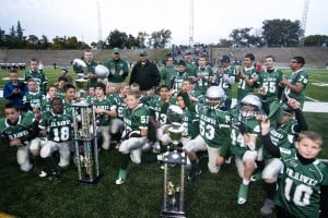 Liberty Ranch Junior Hawks celebrate Super Bowl win