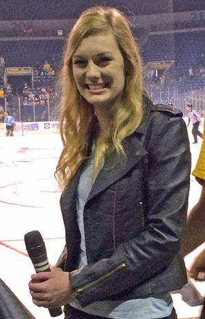 Hannah Sutter sings national anthem at Stockton Thunder game