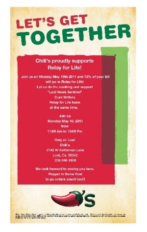 Chili's fundraiser for Relay for Life