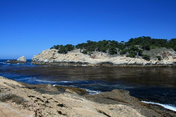 Hike at Point Lobos to enjoy rocky shores and high cliffs.
