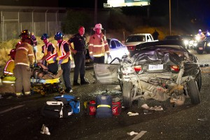 Multiple people injured in suspected three-car hit-and-run crash on Kettleman Lane in Lodi