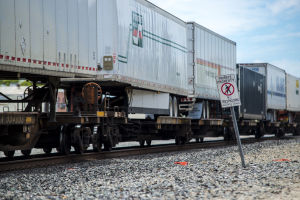 Union Pacific Railroad representative Israel Maldonado shares rail safety tips