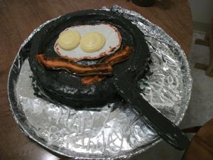 Frying up a birthday cake