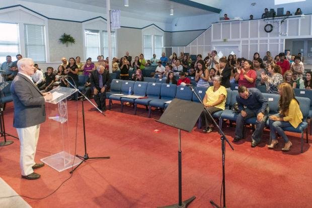 Immigration activists speak at Iglesia Biblica El Calvario in Lodi