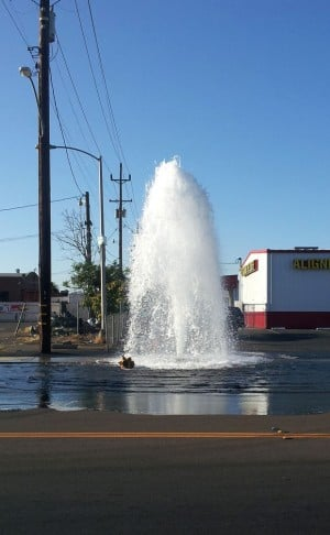 Fire hydrant turns into street geyser after being hit by truck