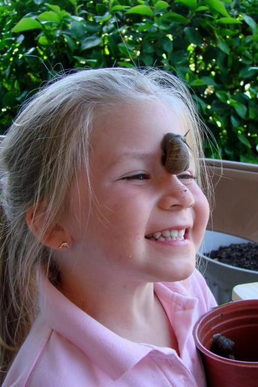 Enjoying one of Lodi's snails.