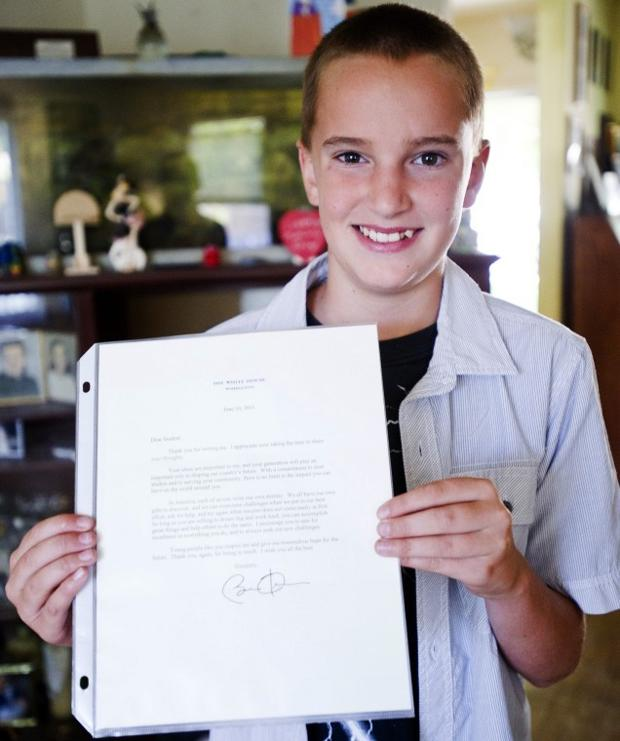 Local student James Henderson writes President Obama — and gets a response